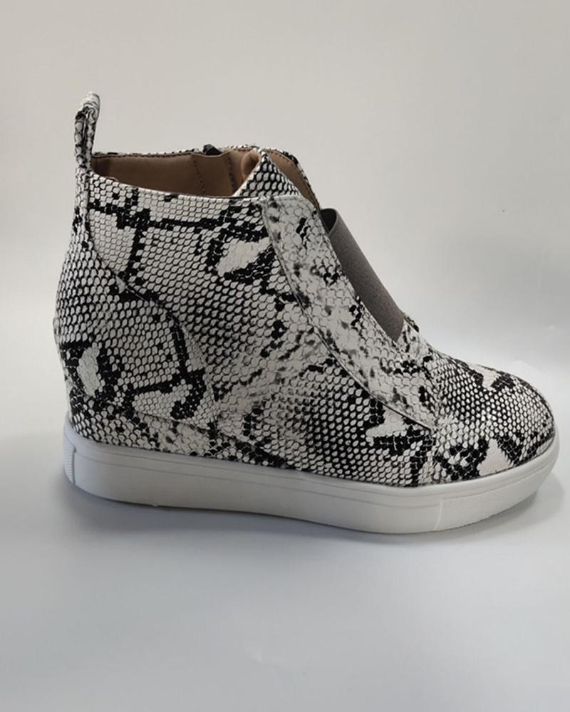 High Top Zipper Wedge Sneaker