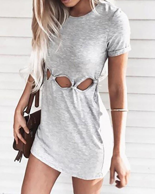 Cut Out Short Sleeve Casual T-shirt Dress