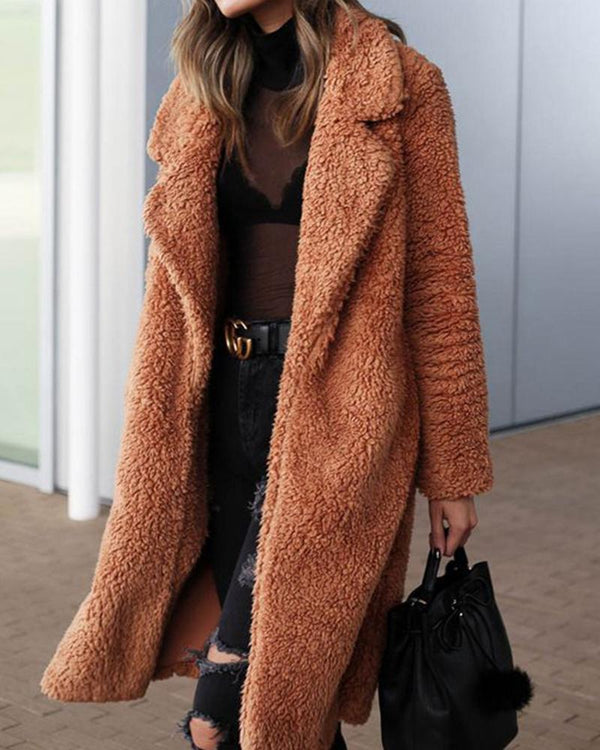 Solid Long Teddy Coat