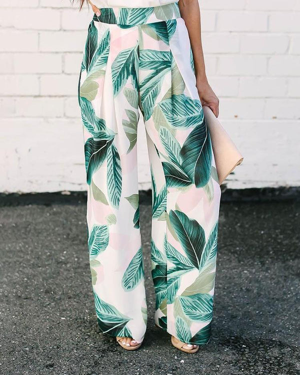 High Waist Leaf Print Wide Leg Pants