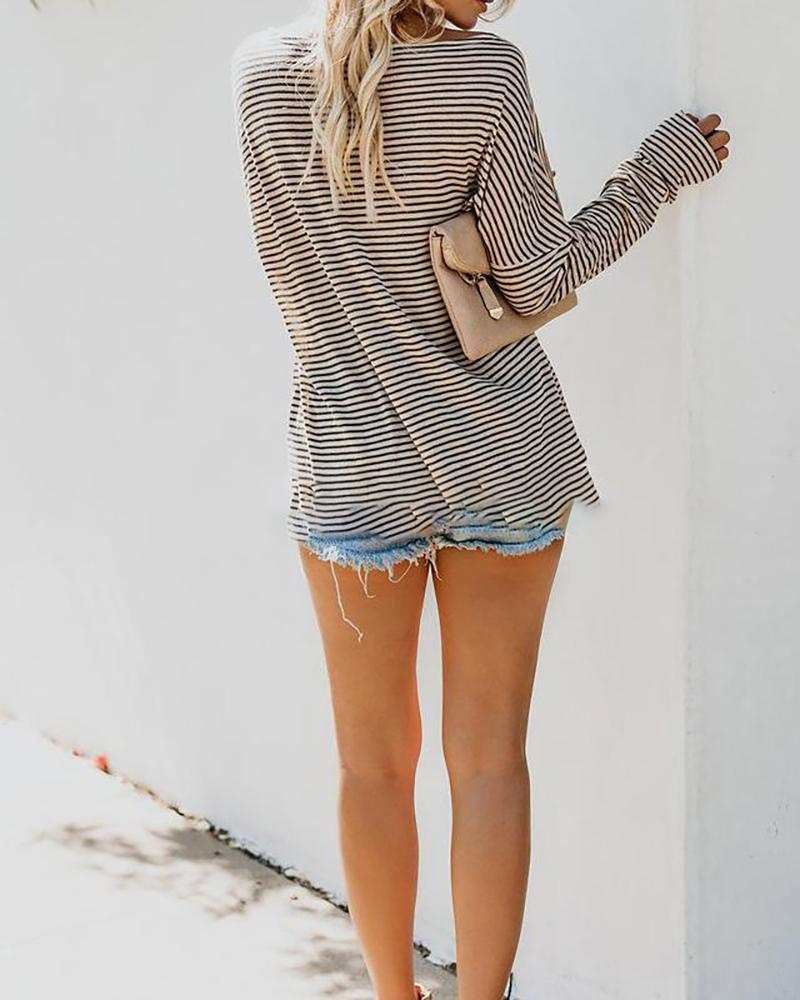 Autumn/Winter Striped Diagonal-neck Long-sleeve Casual Tops