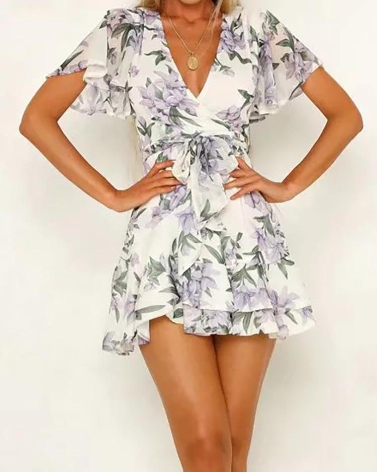 Floral Print Belted Casual Dress