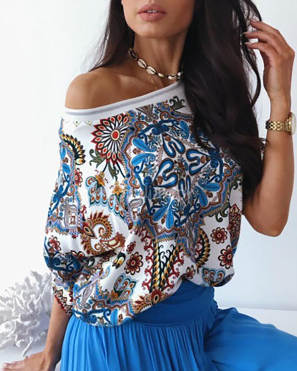 Retro Ethnic Print Casual Top