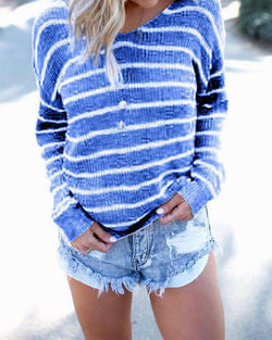 Irregular open back fashion striped long sleeve T-shirt