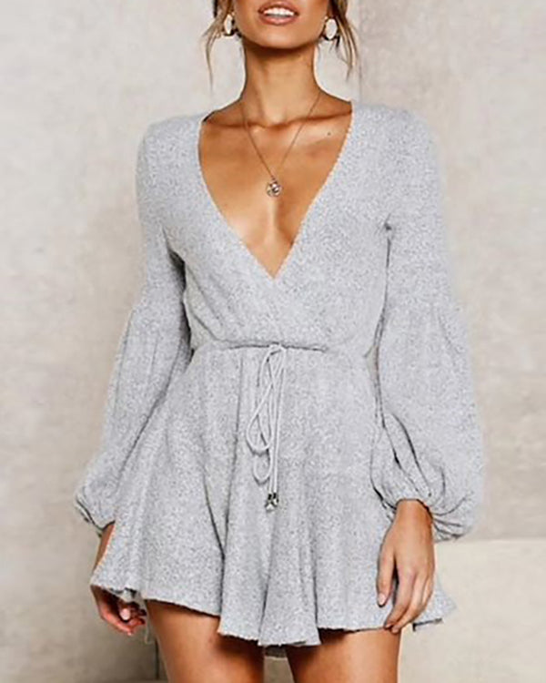 V-Neck Lantern Sleeve Casual Dress