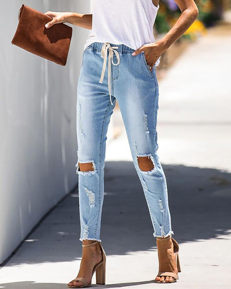 Lace Up Hole Skinny Jeans
