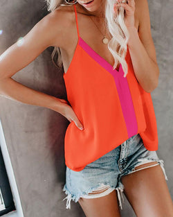 Summer new women's color vest multi-color sling top