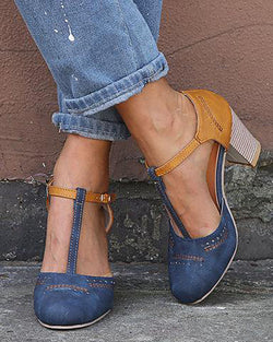 Colorblock Ankle Buckled Chunky Heels