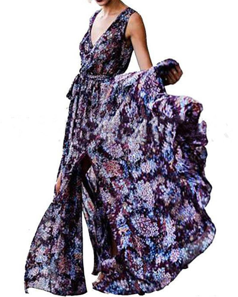 Boho Holiday Beach Sleeveless V-neck Floral Maxi Dress