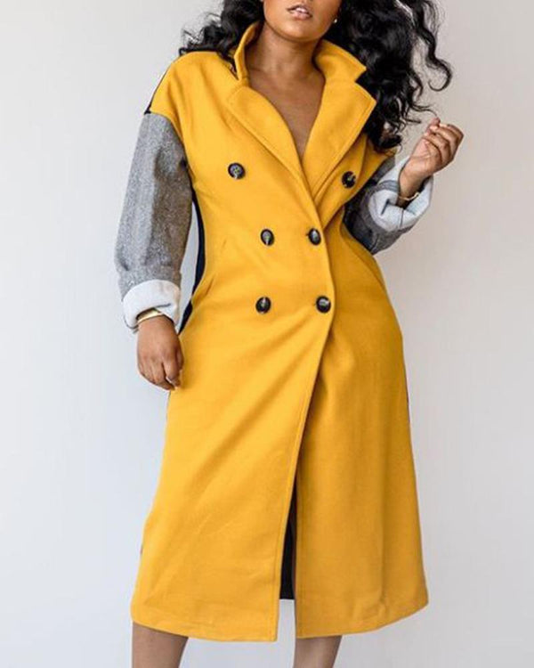 Colorblock Double-breasted Longline Wool Coat