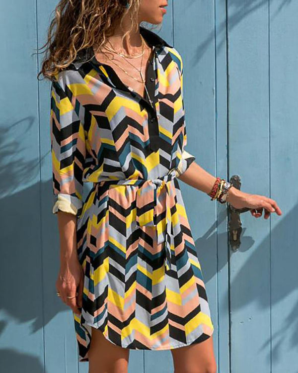 Colorful Geo Print Shirt Dress