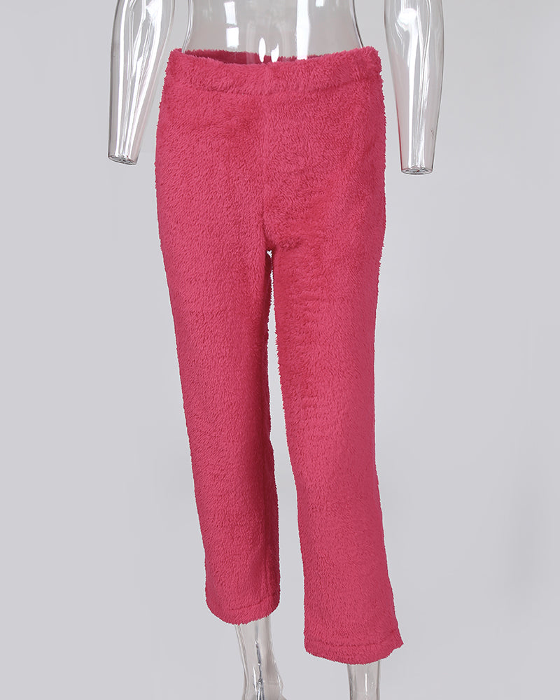 Fluffy Elastic Waist Casual Pants