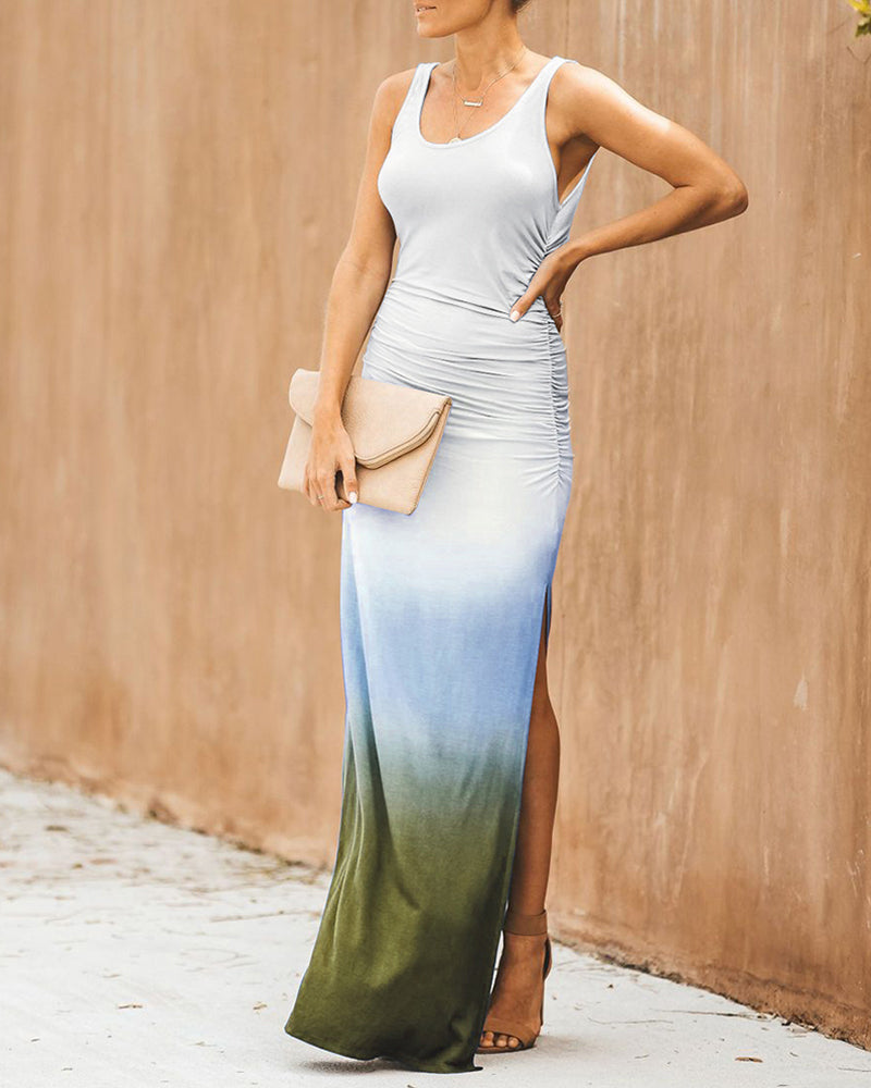 Gradient Color Side Slit Maxi Dress