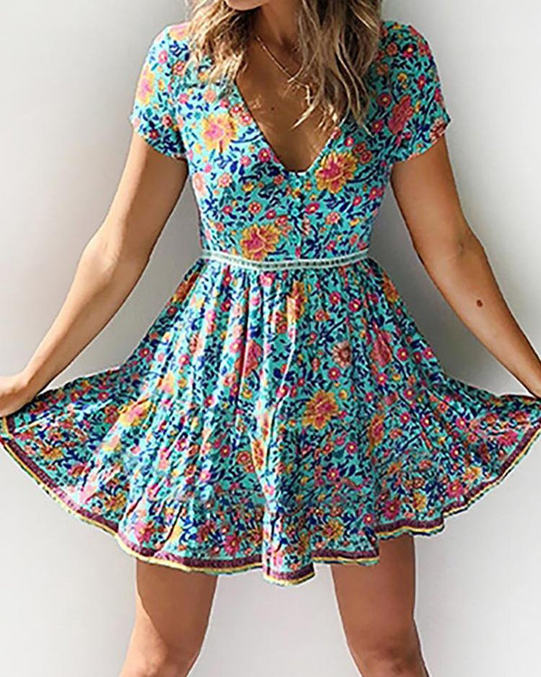 Floral Print V-Neck Short Sleeve Dress