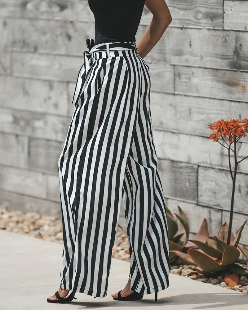 High Waist Striped Wide Leg Pants With Belt
