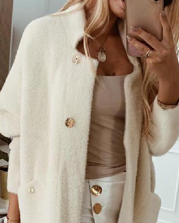 Pocket Design Open Front Buttoned Fluffy Cardigan