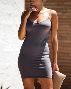 Solid Spaghetti Strap Bodycon Dress