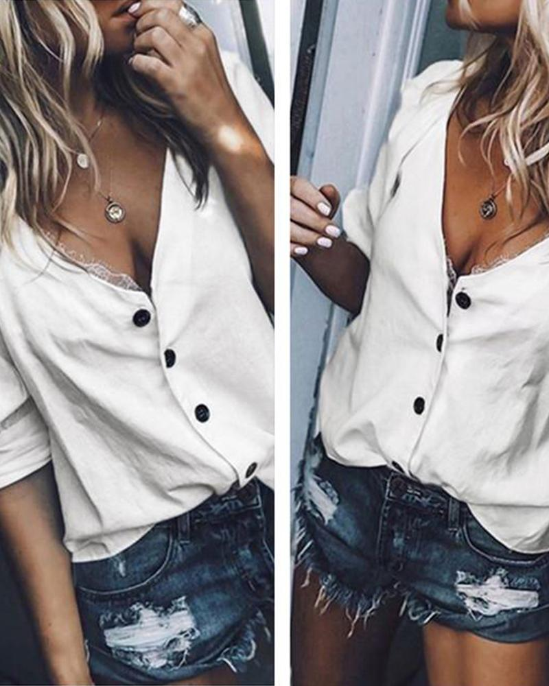 Mid-Sleeve V-Neck Top