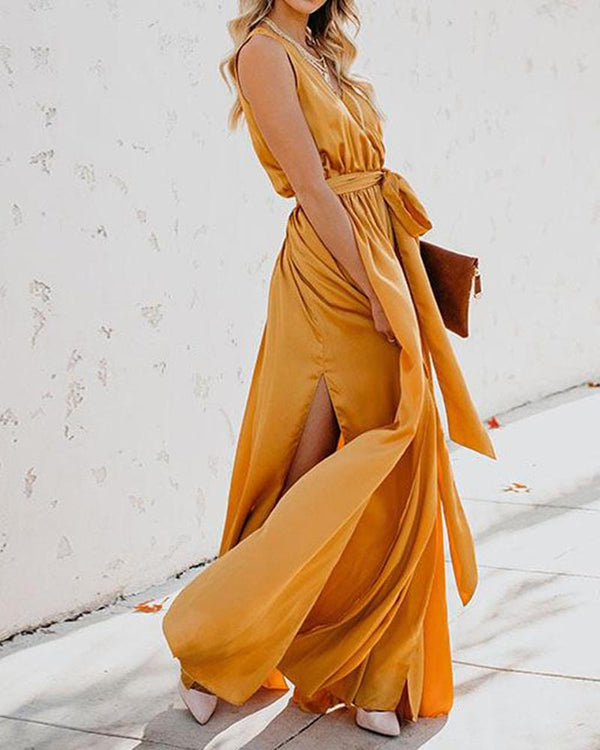 New Bohemian Net Color V-neck Sleeveless High Open  Maxi Dress