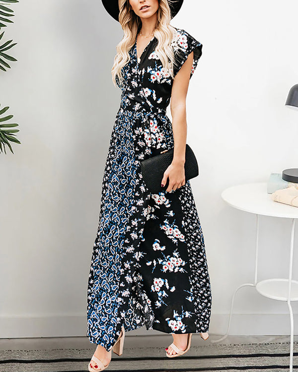 Short Sleeve V-neck Irregular Print Long Dress
