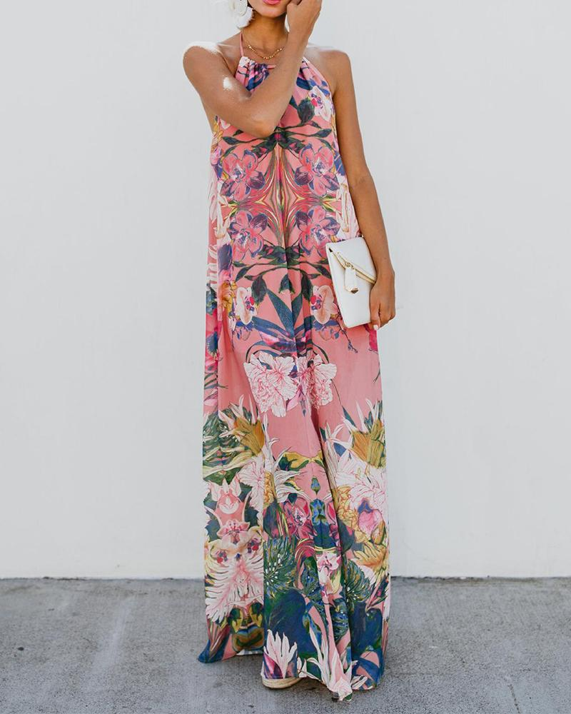 Halter Backless Floral Printed Maxi Dress