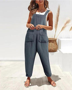Pocket cotton and linen strap jumpsuit