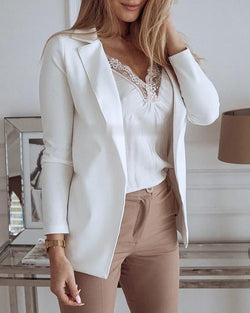 Solid Long Sleeve Blazer Coat