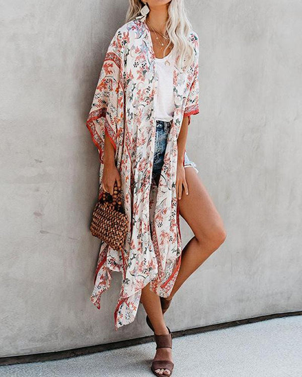 Printed beach holiday blouse cardigan coat