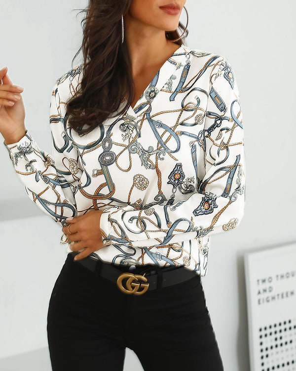 Chain Print V-Neck Casual Shirt