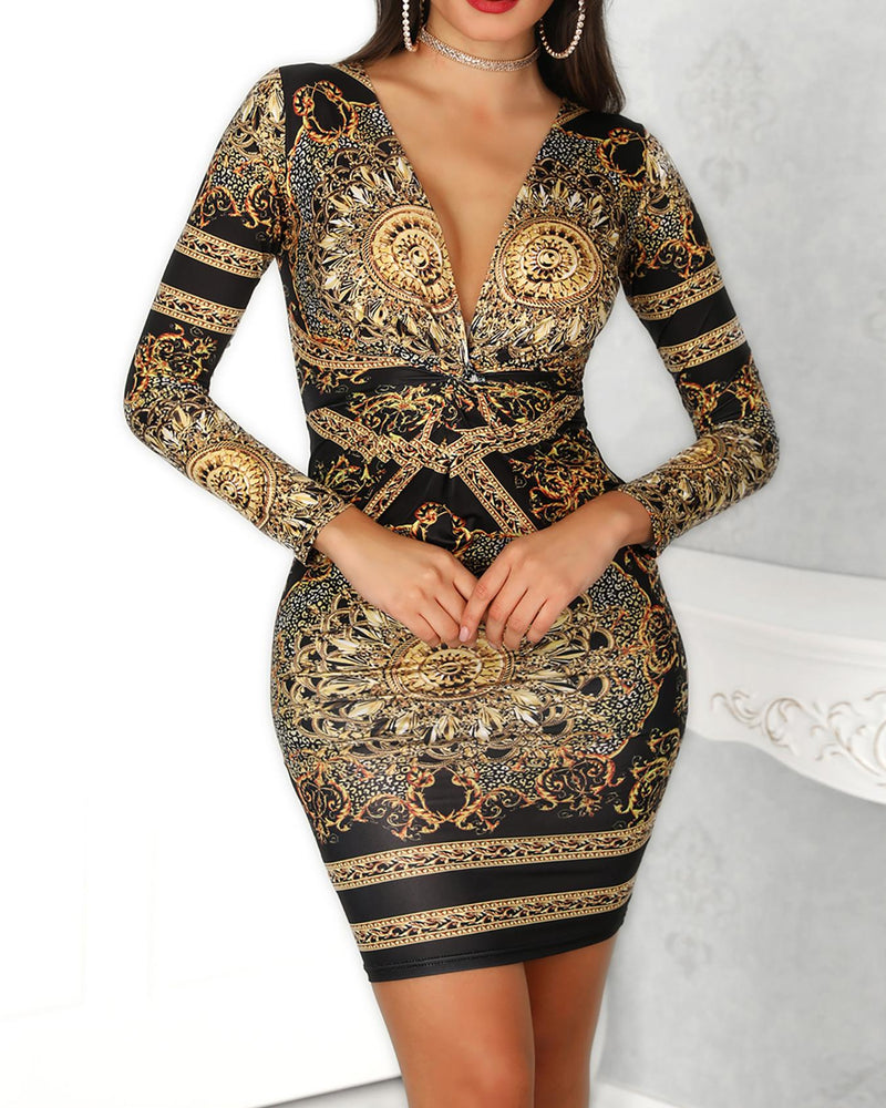 Retro Print Twist Front Long Sleeve Dress