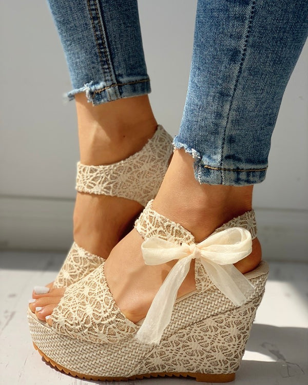 Bowknot Design Platform Espadrille Wedge Sandals