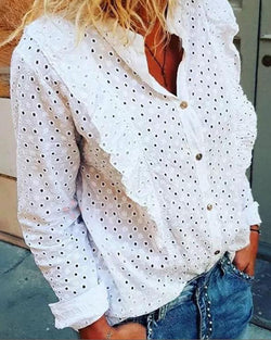 Embroidered Openwork Ruffled Button Long Sleeve Blouse