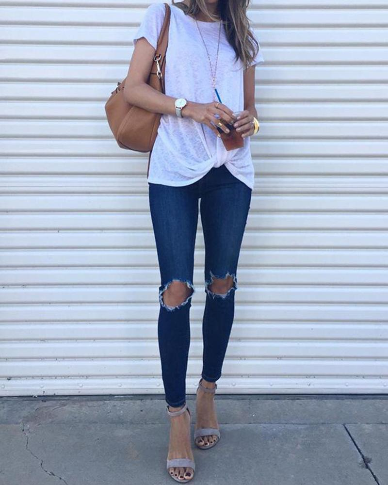 Casual Solid Front Knot Tops