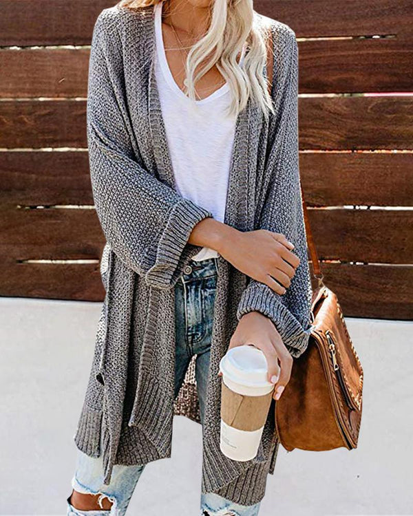 Solid Open Front Knitting Sweater