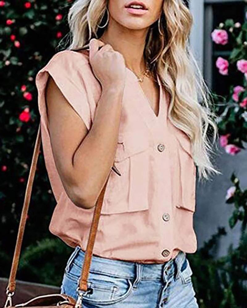 Solid Buttoned Pocket Casual Blouse