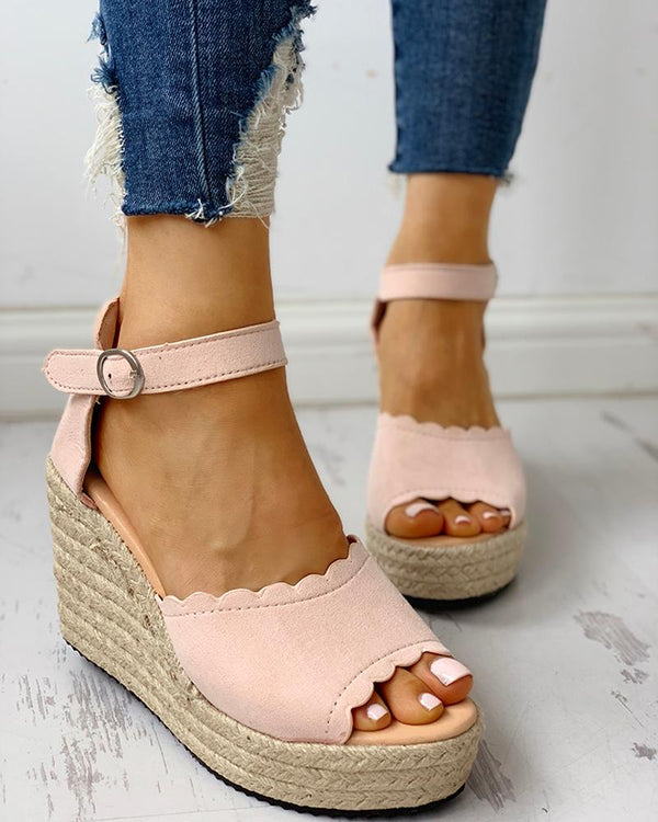 Peep Toe Espadrille Platform Wedge Sandals