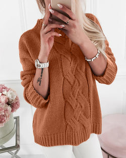 Turtleneck Long Sleeve Solid Knitted Sweater