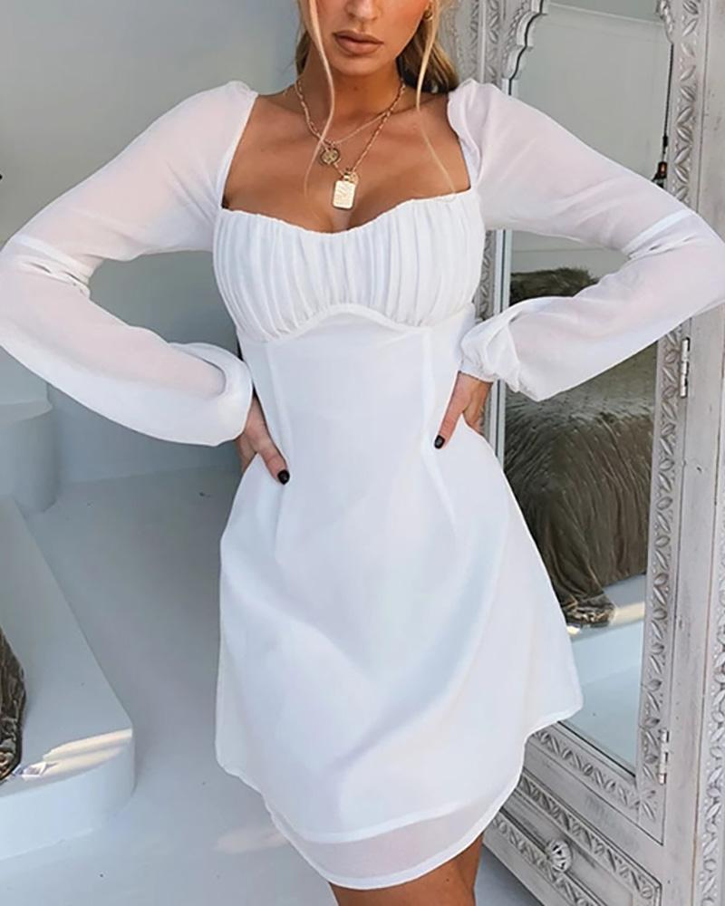 Low Cut Long Sleeve Knotted Ruched Dress