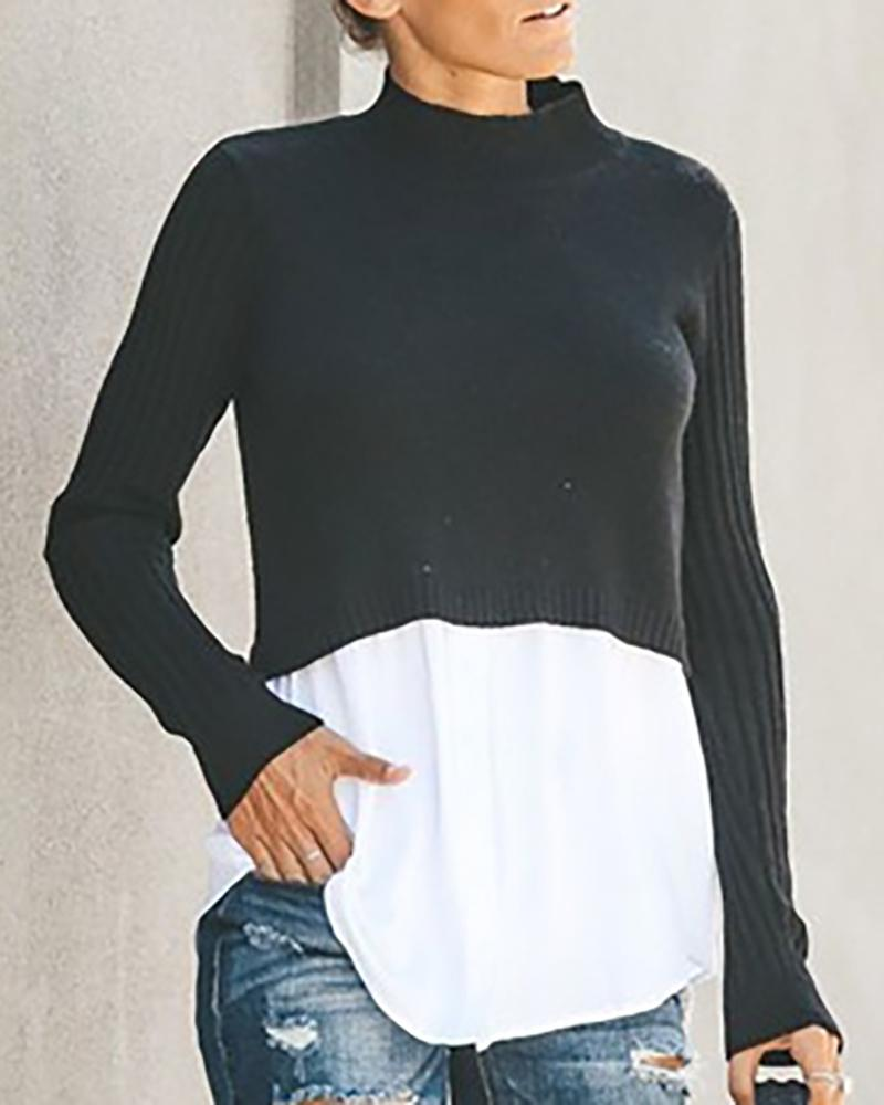 Contrast Color Insert Long Sleeve Sweater
