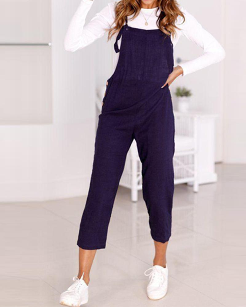 Solid Fashion Tooling Jumpsuit