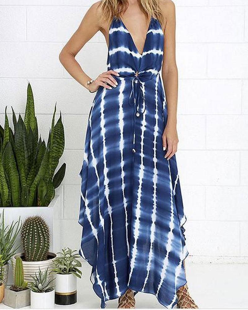 V-neck Belt Loops Halter Backless Printed Maxi Dress