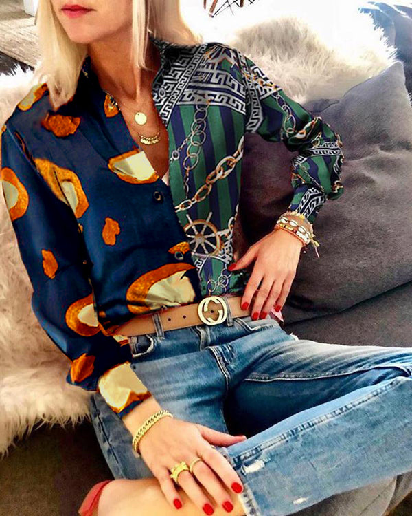 Fashion Women Floral Print Blouse Shirt Top