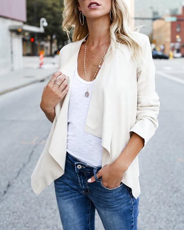 Solid Long Sleeve Open Front Cardigan