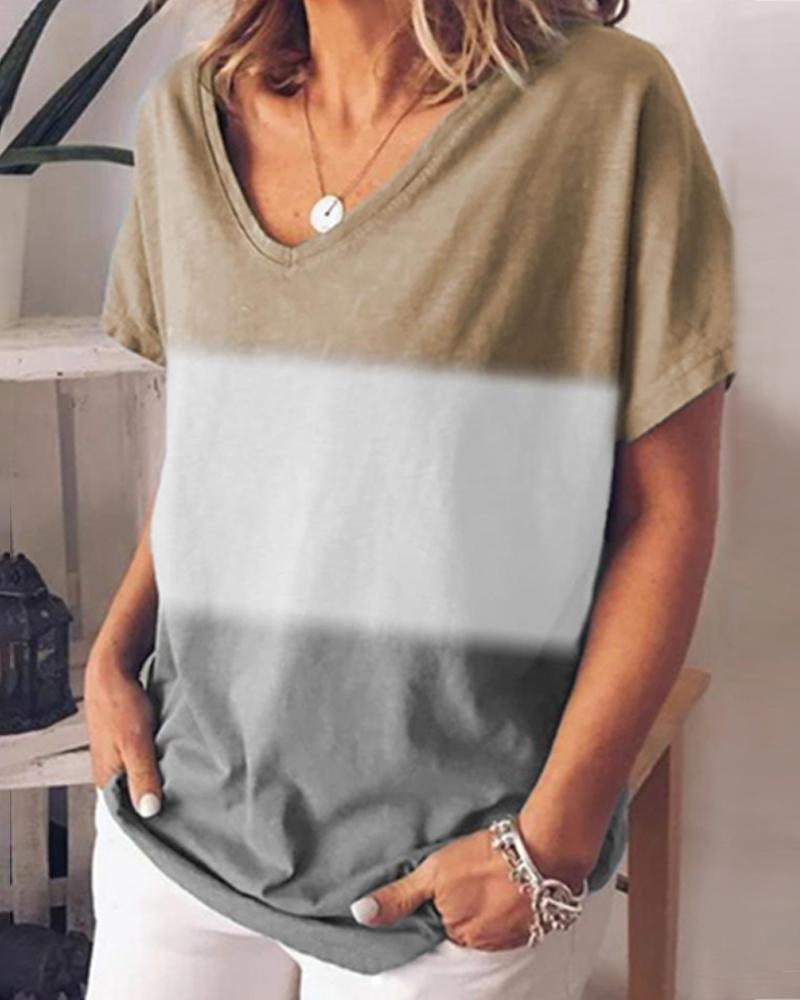 Color Block Striped V-neck T-shirt