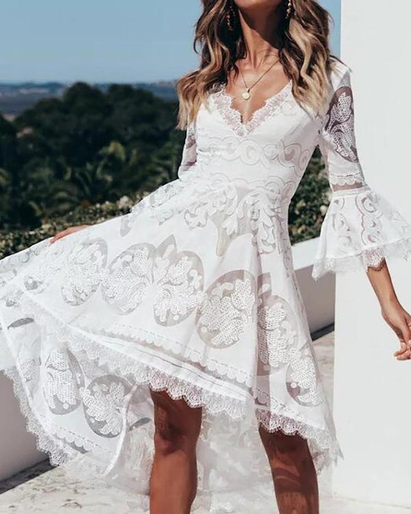 Lace Eyelash Flared Sleeve Dip Hem Dress