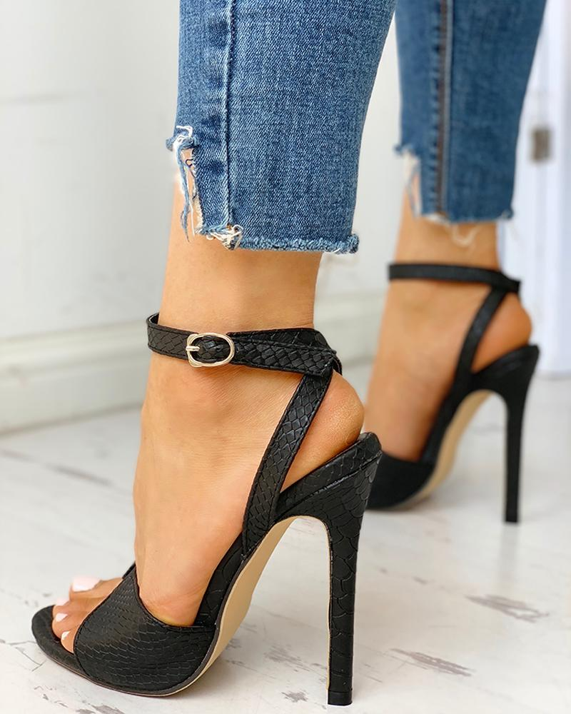 Ankle Strap Slingback Thin Heels