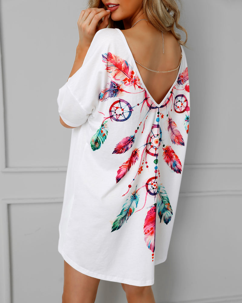 Feather Print Open Back Casual Blouse