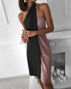 Halter Sleeveless Colorblock Ruched Design Dress