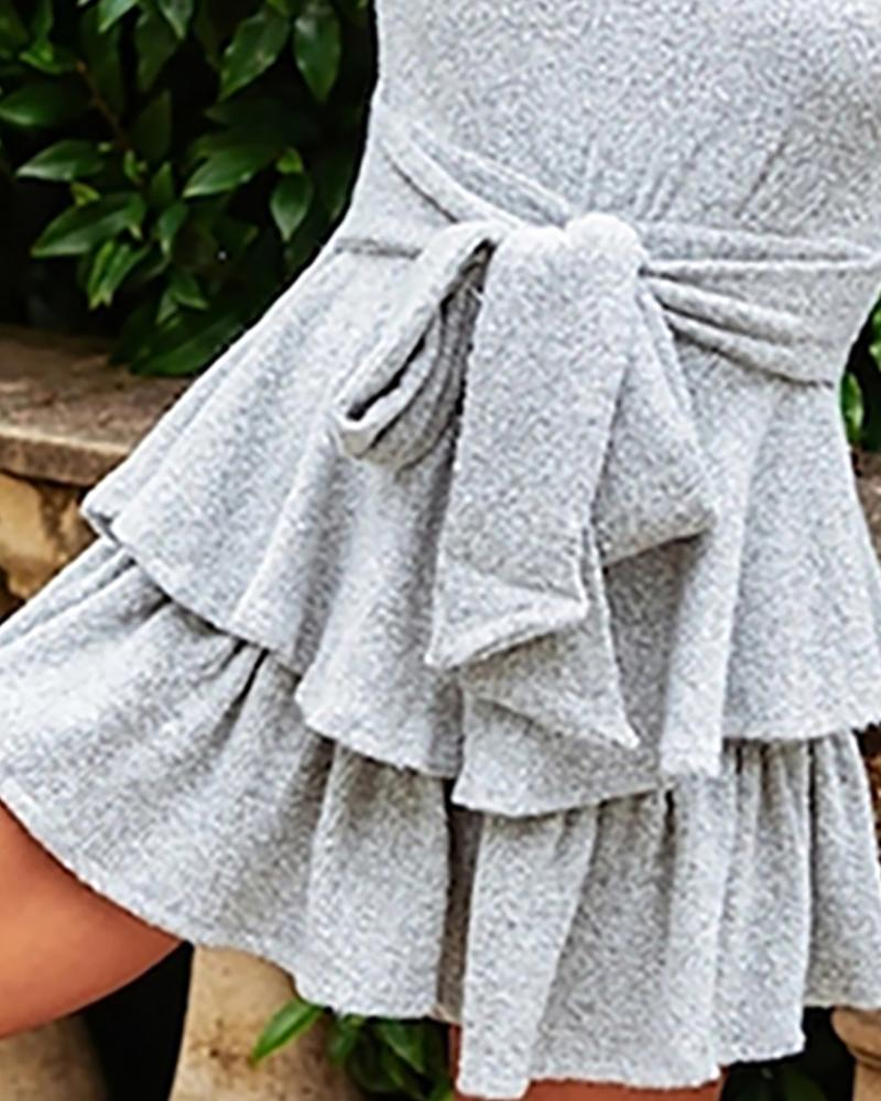 Solid Lantern Sleeve Knotted Pleated Dress