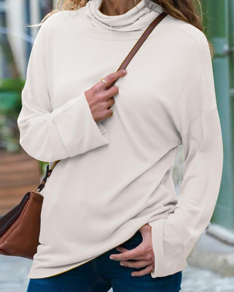 Solid Long Sleeve Casual Blouse